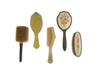 Vintage Soft Bristle Hair Vanity Brush Comb Collection Set of 5