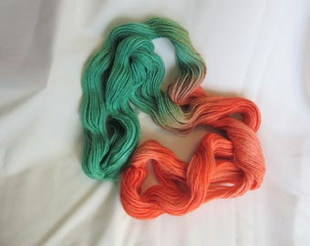 Hand Dyed/Painted - Salmon and Emerald - 3 Ply DK Weight Alpaca Yarn - 4.3 oz. - 250 Yds - 12-14 WPI