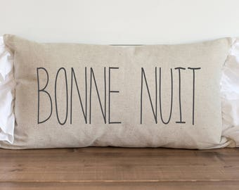 Bonne Nuit 16 x 26 Pillow Cover // Everyday //  Good Night //  French // Sweet Dreams // Throw Pillow // Gift for Them // Accent Pillow