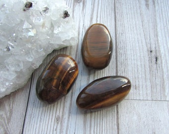 Tiger Eye Polished Pebble - Smooth Palm Stone - Natural Brown Gemstone Smooth Stone