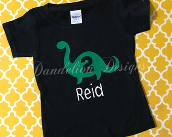 2nd Birthday Shirt Dinosaur Personalized Second Dino Bday Brontosaurus B-Day with name