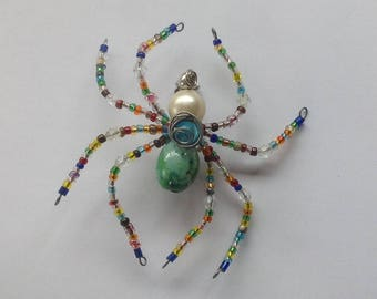 Spider Brooch,Multi Colour Spider Brooch, Beaded Spider Brooch.