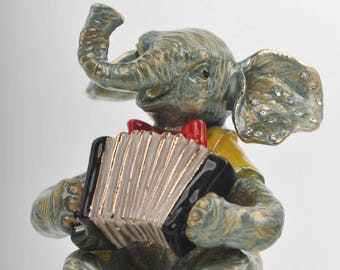 Elephant Playing the Accordion Faberge Styled Trinket Box Handmade by Keren Kopal Enamel Painted Decorated with Swarovski Crystals