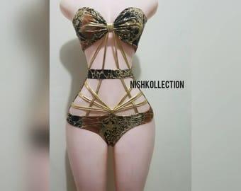 Valentine's day Red DELUXZZ monokini / swimwear BANDEAU bikini with harness top