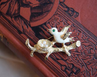 Vintage Bird and Pearl Nest Brooch,