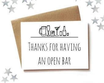 Wedding Card congratulations, funny new marriage card, open bar