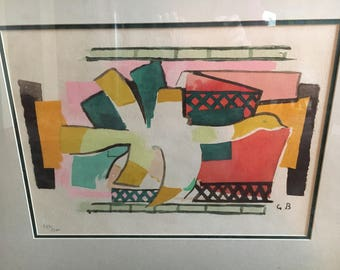 "FIRE BIRD Limited Edition Lithograph by George Braque Framed 28"" x 23"""