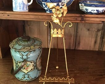 Italian Style Tole Easel, Gold Leafed Desk Top Easel, Decorative Easel, French Country, Cottage Chic, Hollywood Regency