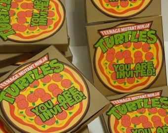 2 Ninja turtle pizza pop-up invitations