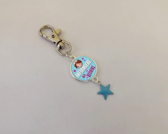 """SPECIAL nurse"" with an enameled Blue Star keychain"