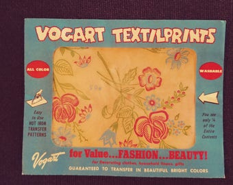 No. 65 Vogart Textilprints.  All Color Washable. Unused. Red Floral Themed.