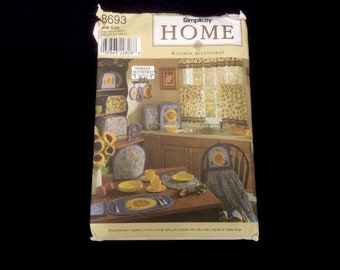 8693 Simplicity Home Kitchen Accessories One Size. Oven Mitt Hot Pad Covers Placemats