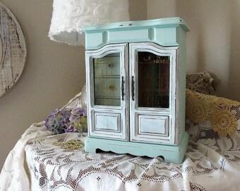 Painted Aqua Jewelry Box - Large Shabby Jewelry Box - Jewelry Organizer - Vintage Jewelry Box