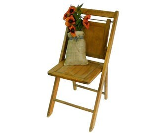 Vintage Slatted Wooden Folding Chair, Porch Decor, Wedding Seating, Lot 8