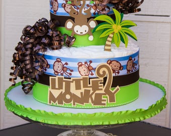 Monkey Diaper Cake - Monkey Diaper Cake Centerpiece - Monkey Boy Diaper Cake - Monkey Boy Baby Shower - Monkey Baby Shower - It's a Boy