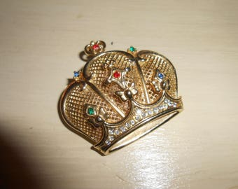 Vintage N.L.H.  Rhinestone Jeweled Crown Brooch