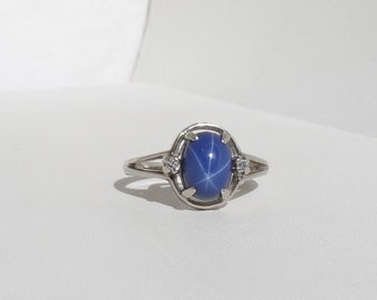 Vintage 1.25ct Blue Star Sapphire & Diamond 10K White Gold Ring Size 6.25