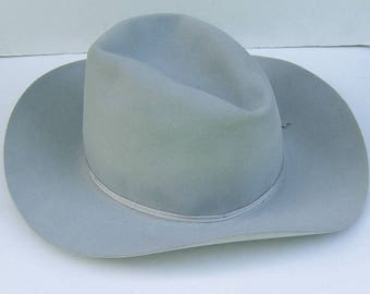 7 1/2 - Vintage Light Gray Fur Felt Men's Cowboy Western Hat