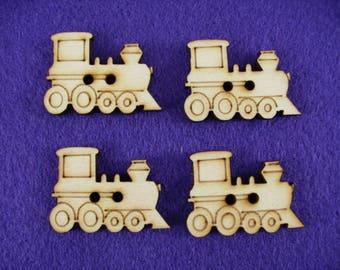Buttons, Wooden, Train, set of 4, 3,5 x2, 5 cm  (15-0014A)