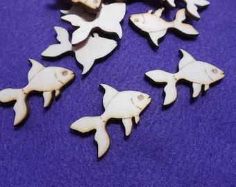 10 gold fish, wood, 4 x 3 cm (10-0031B)