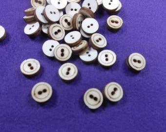 20 buttons, wooden, 1 cm