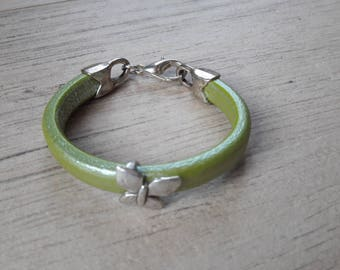 Light green thick leather strap. Silver Butterfly loop. mixed bracelet