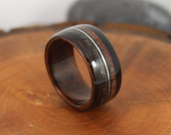 Wooden Ring with Meteorite Dinosaur Bone and Guitar String Bentwood Ring Dinosaur Bone Ring Guitar String Ring Meteorite Ring Mens Wood Ring