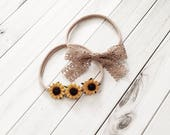 sunflowers, lace, baby bows, baby shower gift, baby accessories, toddler bows, fall bows