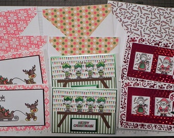 Handmade 'Christmas Cuties' finished set of 6 cards/envelopes