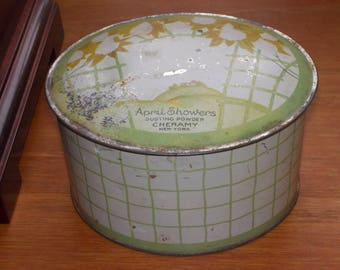 c-vintage metal april showers powder box tin
