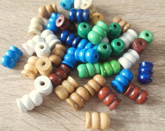 set of 45 red painted wooden beads