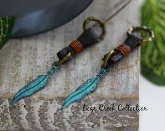 Feather Earrings, Turquoise Blue Patina Brass Charm, Brown Deerskin Leather, Bohemian Boho Hippie Tribal Jewelry, Drop / Dangle Earrings