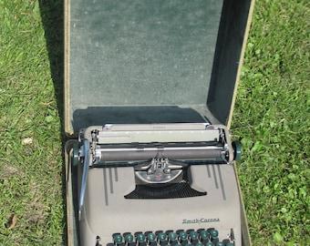 "Smith Corona ""Silent Model"" portable typewriter- green keys; 1950's"