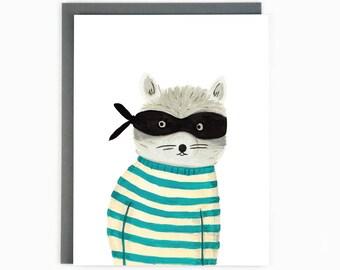Rocky Raccoon - funny animal greeting card / BLK-RACCOON