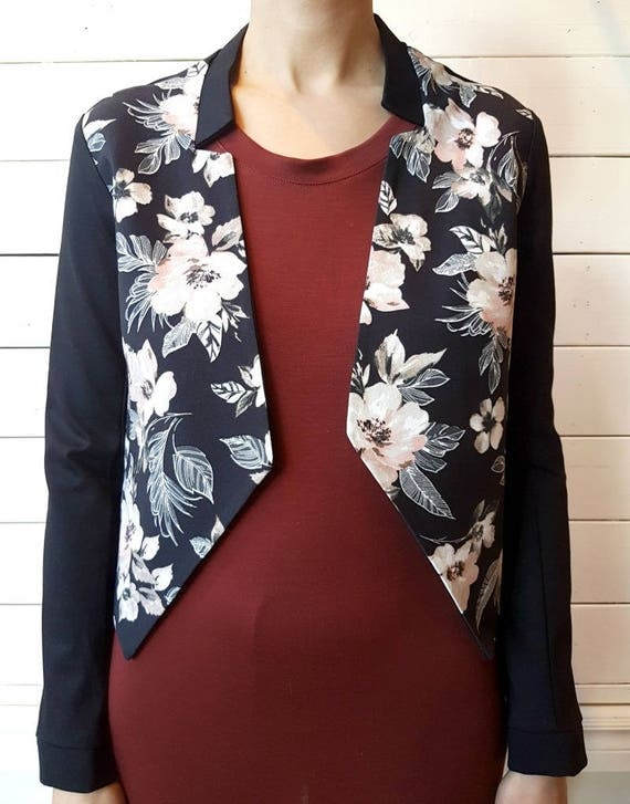 GODFATHER - long sleeves jacket, chic blazer, vest, cover-up for womens - black with flowers print