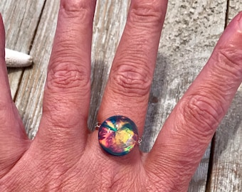 Faux Dichroic glass adjustable ring.