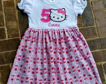 Ruffled Appliquéd Hello Kitty Dress with Birthday Number and Embroidered Name