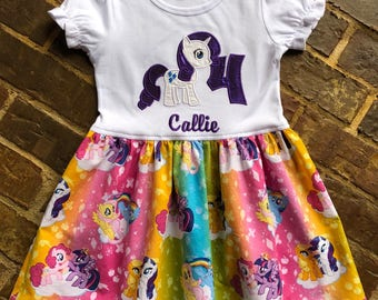 Girls appliquéd Pony Rarity dress with embroidered name and birthday number