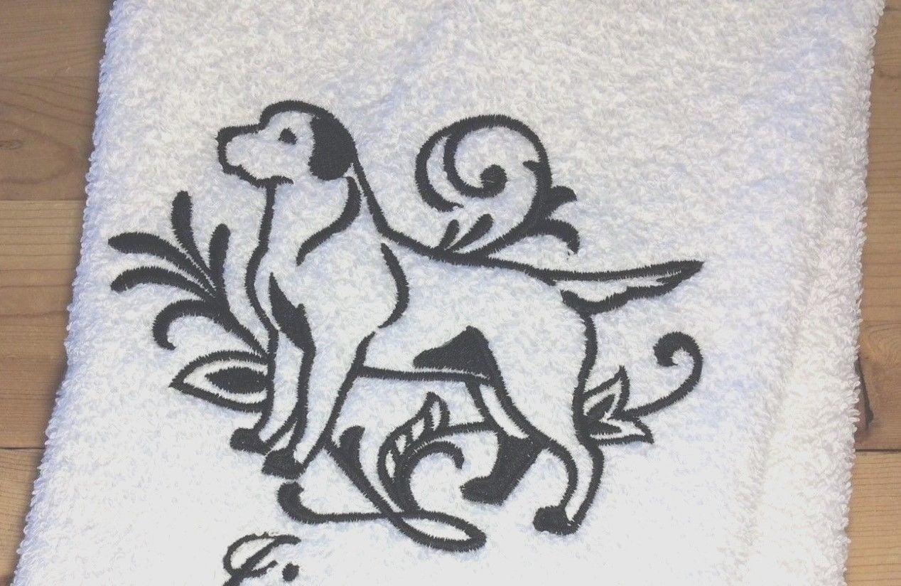 graceful labrador retriever towel~embroidered dog bathroom~hand