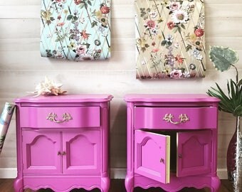 SOLD-Hot pink french provincial nightstands