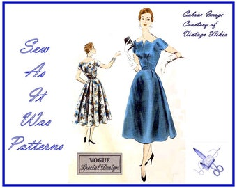 "1950s Vogue Special Design S-4475 Flared Skirt Dress Scooped Shaped Pointed Neckline Vintage Sewing Pattern Size 14 Bust 32"" 82cm"