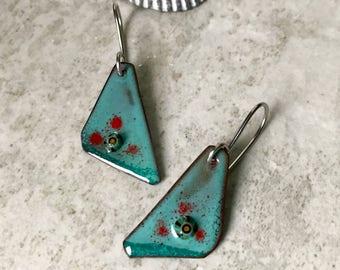 Blue green enamel earrings, rustic enameled copper earrings, aqua green geometric earrings artisan enamel, layered murrini glass