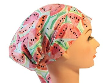 Scrub Hat Cap Chemo Bad Hair Day Hat  European BOHO Pink Watermelon 2nd Item Ships FREE