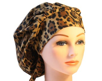 Scrub Cap Surgical Hat Chef    Dentist Hat Bouffant New Animal Print Leopard 2nd Item Ships FREE