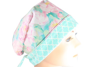 Scrub Hat Surgical Scrub Cap Chef Nurse Dr Chemo Hat Flirty Front Fold Pixie Spring Flowers P006 2nd Item Ships FREE