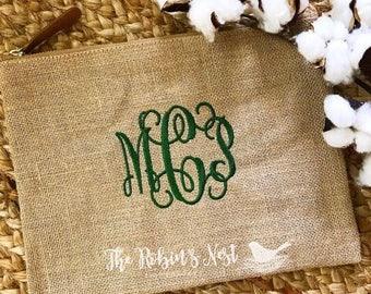 Monogrammed Burlap Zipper Pouch | Bridesmaids Gift | Monogrammed Gifts