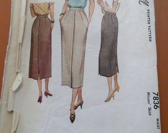 McCall 7836 Skirt Straight 4-Gore Back Kick Pleat Vintage Sewing Pattern 1940s 40s Size 24 Waist