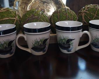 Vintage, Set of Four Loon Lake Mallard Coffee Mugs