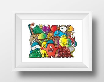 Monsters Print - Poster - A3 - Perfect for Little Monsters - Bedroom Art - Wall Art - Monsters - Colourful