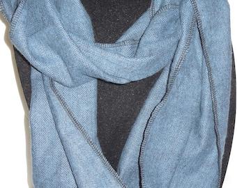 Blue tweed like pattern flannel infinity scarf